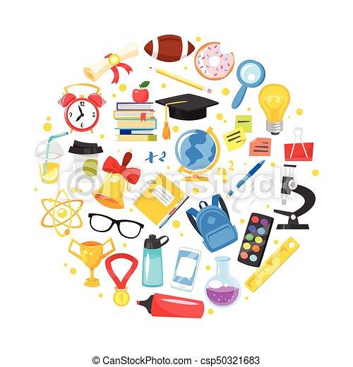 Round Composition Of School Symbols Vector Cartoon Style Round