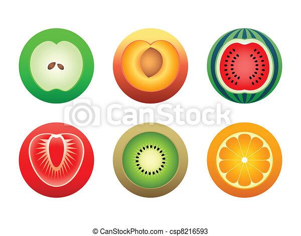 Round cut fruit symbols - csp8216593