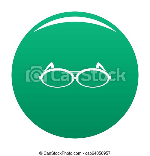 Round eyeglasses icon green - csp64056957