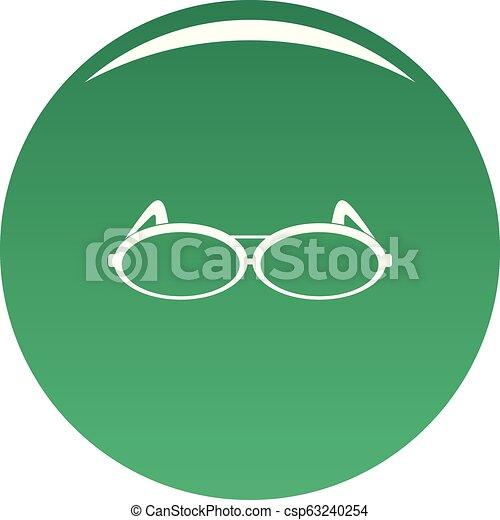 Round eyeglasses icon vector green - csp63240254