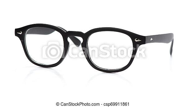 Round eyeglasses isolated on white background - csp69911861