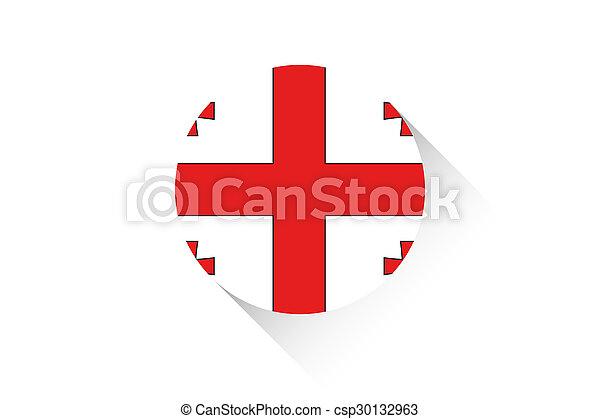 Round flag with shadow of Georgia - csp30132963