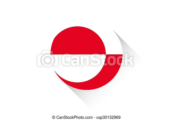 Round flag with shadow of Greenland - csp30132969