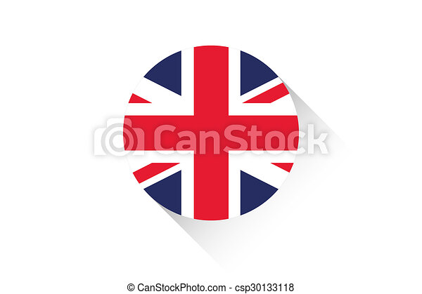 Round flag with shadow of United Kingdom - csp30133118
