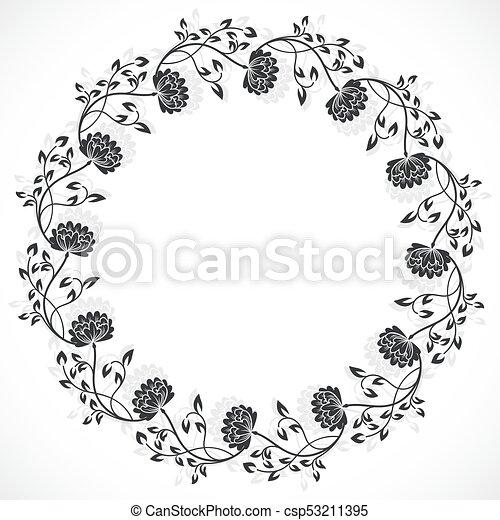 Round floral frame. Vintage black and white round floral frame ...