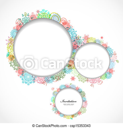 Round floral frame for your design - csp15353343