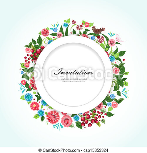 Round floral frame for your design - csp15353324