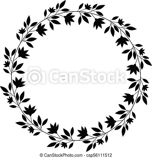 Round floral vector wreath, black border for graphic ...