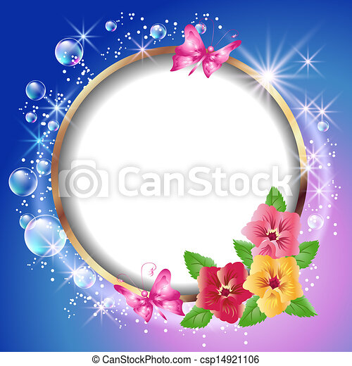 Round frame and flowers - csp14921106