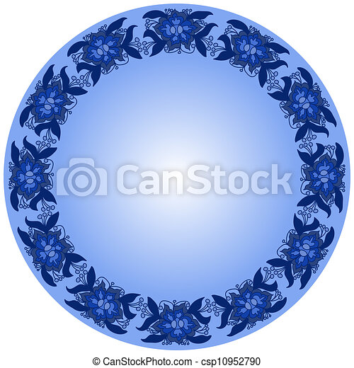 Round Frame from Floral Pattern - csp10952790