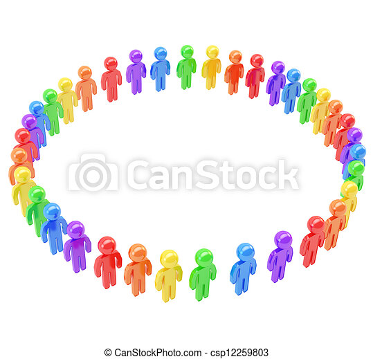 Round frame made of group of symbolic people. Teamwork and common ...