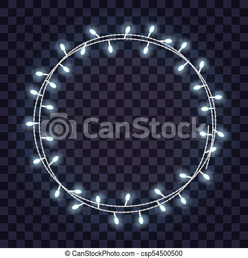 Round Frame Of Overlapping Glowing String Lights On A Transparent Background Vector Illustration