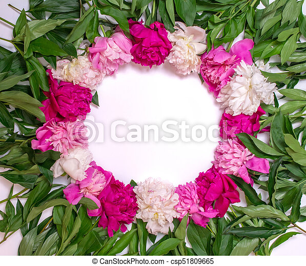 Round frame of peonies on a white background floral design pink round frame of peonies on a white background floral design pink and purple spring mightylinksfo