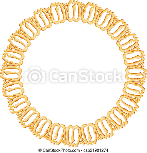 round frame on a white background - gold chain, religious symbol Islam - csp21981274