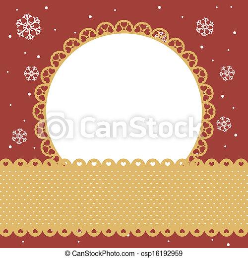 round frame on red background - csp16192959