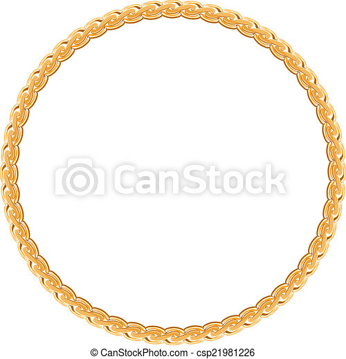 0425f4006200 Round frame vector - gold chain on the white background.