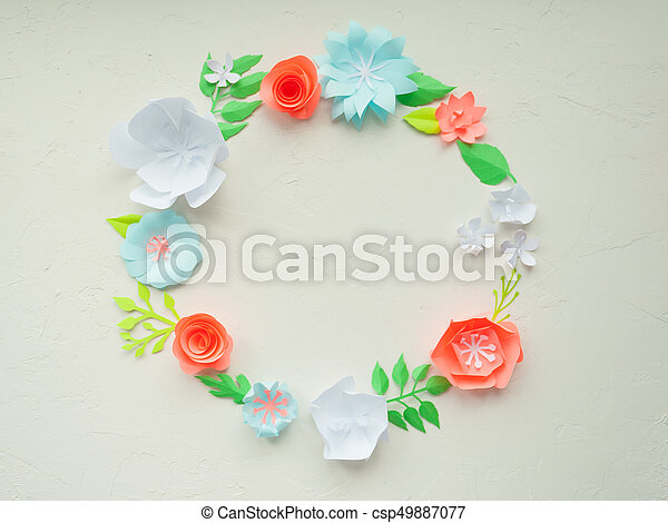 Round frame with color paper flowers on the white stucco flat lay round frame with color paper flowers on the white stucco flat lay nature concept mightylinksfo