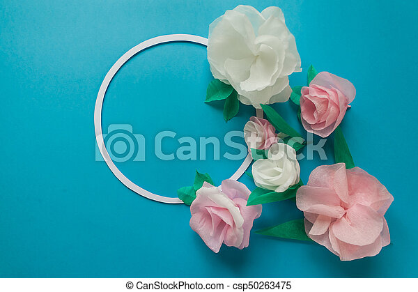 Round Frame With Color Paper Flowers On The Blue Background Flat