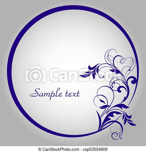 Round frame with decorative branch. Vector illustration. - csp53554909