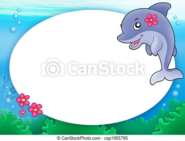 Round frame with dolphin girl - color illustration. stock ...