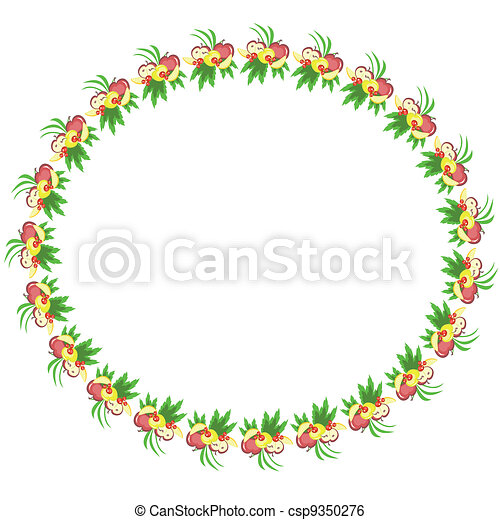 Round frame with fruits ,vector. - csp9350276