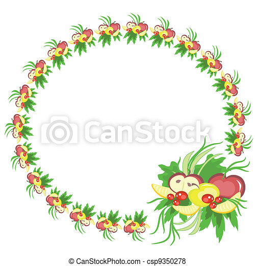 Round frame with fruits ,vector. - csp9350278