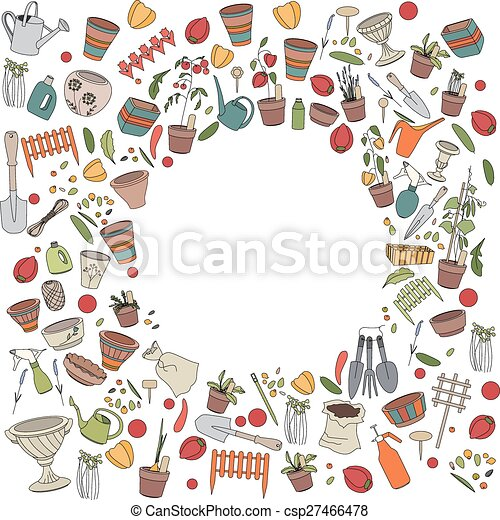 Round frame with gardening tools, flower pots and vegetables - csp27466478