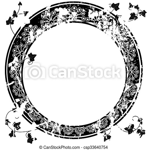 Round frame with ivy. Round vector frame with ivy in black and white ...