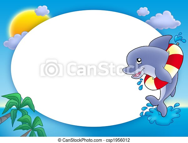 Round frame with jumping dolphin - color illustration.