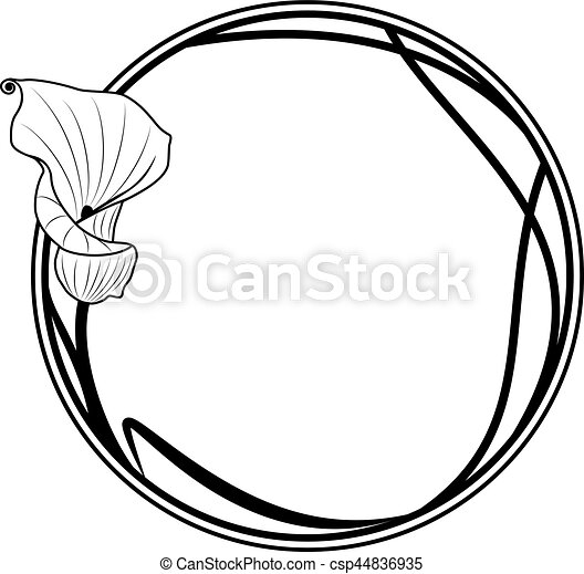 Vector floral round frame with lily in black and white colors.