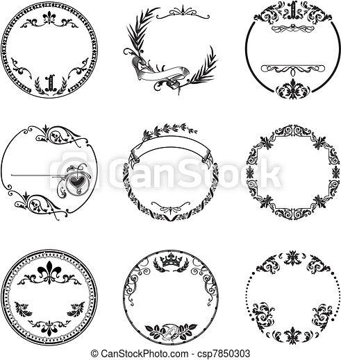 Round frame with vintage ornaments. Round frame with vintage ...