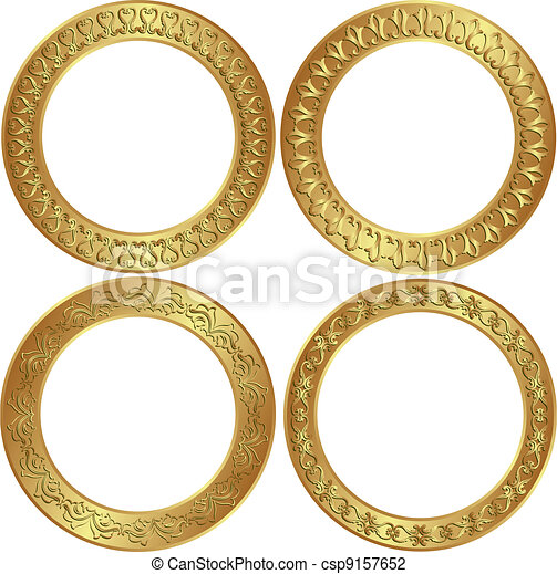 Round frames round golden frames with ornaments vector illustration round frames csp9157652 thecheapjerseys Image collections