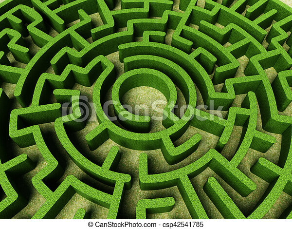 Round Garden Maze With Green Bushes As Walls. 3d Illustration