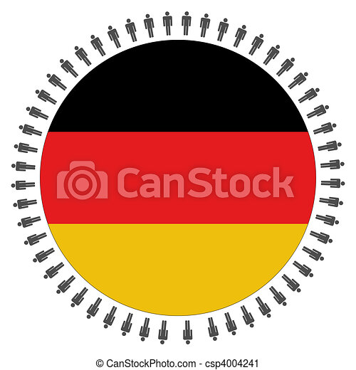 Round German flag with people - csp4004241