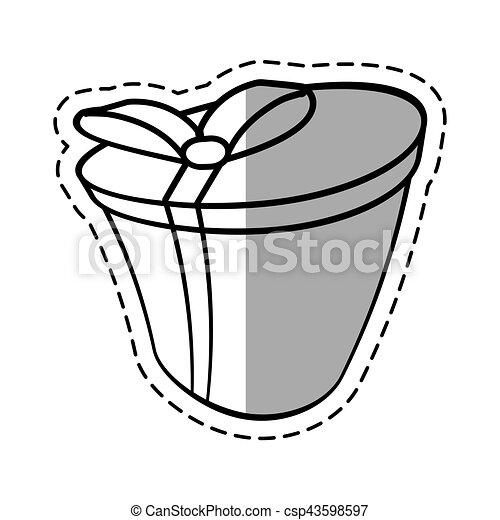 Round gift box ribbon festive linea shadow vector illustration eps 10.