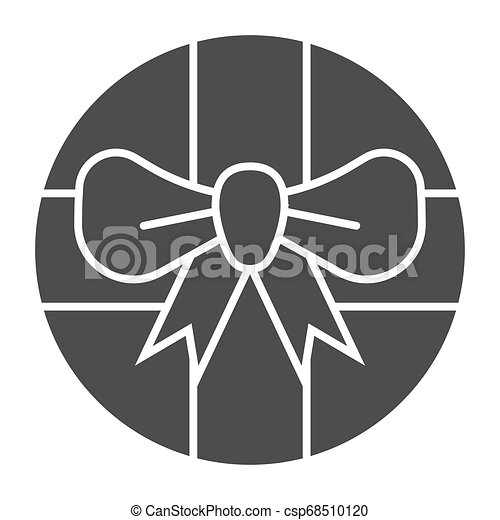 Round gift box with bow solid icon. Round present with ribbon vector illustration isolated on white. Package glyph style design, designed for web and app. Eps 10. - csp68510120