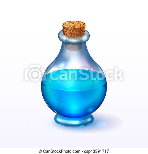Round glass corked bottle with - csp43391717