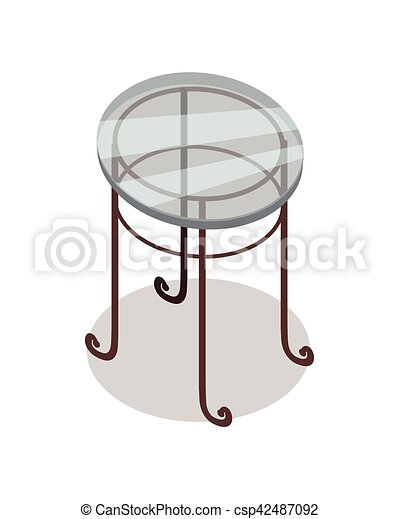 Round Glass Table Vector In Isometric Projection Round Glass Tea