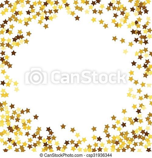 Round glitter gold frame. - csp31936344
