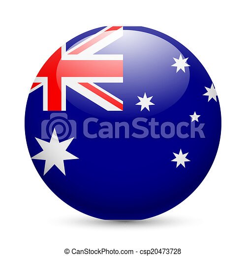 Round glossy icon of Australia - csp20473728