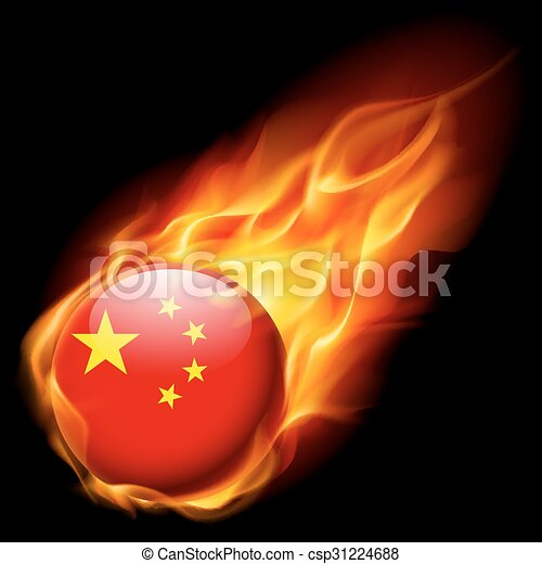 Round Glossy Icon Of China Flag Of China As Round Glossy Icon Burning In Flame