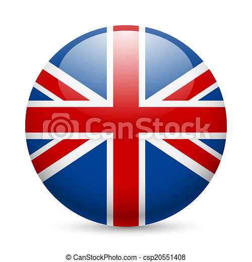 Round glossy icon of Great Britain - csp20551408