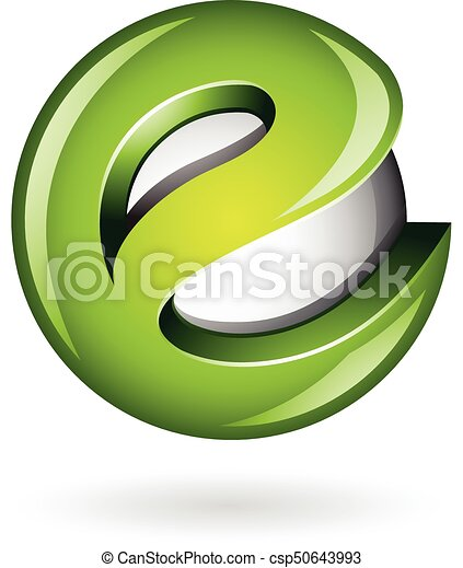Round Glossy Letter E 3d Green Logo Icon - csp50643993