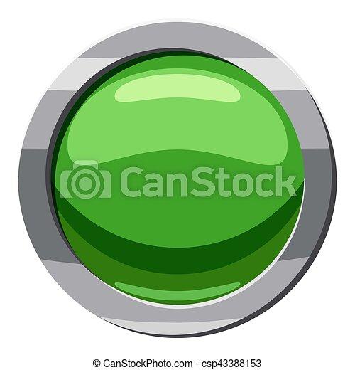 Round green button icon, cartoon style - csp43388153