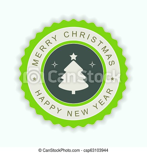 Round green emblem with a silhouette of a Christmas tree. - csp63103944