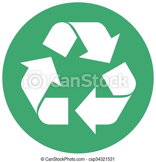 Round Green Recycling Symbol Single Round Green Recycling Arrow