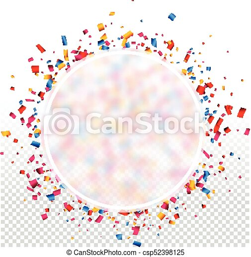 round holiday background with colorful confetti csp52398125