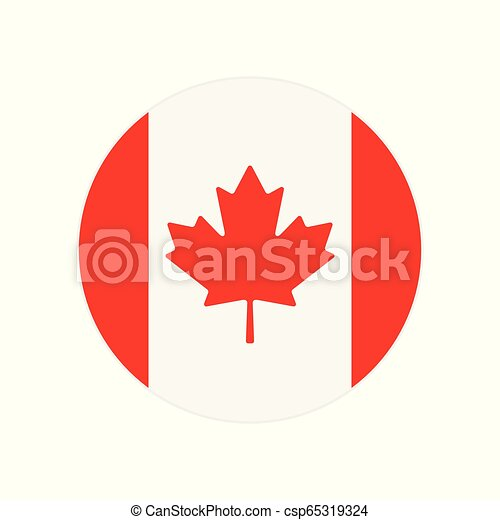 Round icon, button or badge with National Canada flag isolated on white background - csp65319324