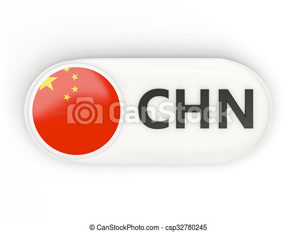 Round Icon With Flag Of China And Iso Code