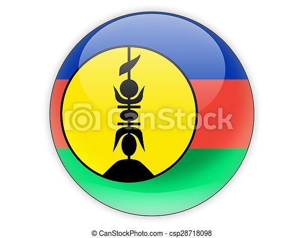 Round icon with flag of new caledonia - csp28718098